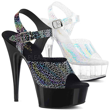 Pleaser | Delight-608N-CK, Cracker Holographic Print Ankle Strap Sandal color available: black, silver