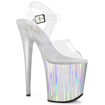 Flamingo-808HP-1, 8 Inch Vertical Holographic Lines On Platform Sandal