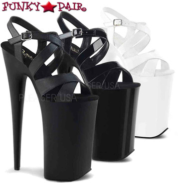 Pleaser | Beyond-097, Stiletto Heel Criss Cross Platform Sandal