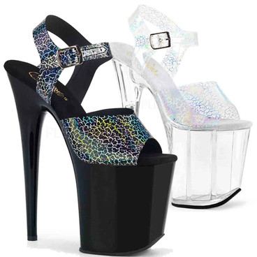 Pleaser | Flamingo-808N-CK, Ankle Strap Platform Sandal with Cracker Hologram