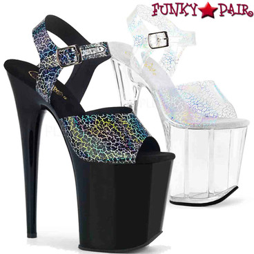 Pleaser | Flamingo-808N-CK, Ankle Strap Platform Sandal with Cracker Hologram | FunkyPair.com
