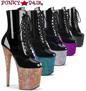 Pleaser | Flamingo-1020LG, Multi Glitter Platform Ankle Boots | FunkyPair.com