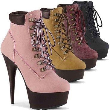 Pleaser USA | Delight-600TL-02, Lace-up Bootie color available: black, baby pink, tan, burgundy