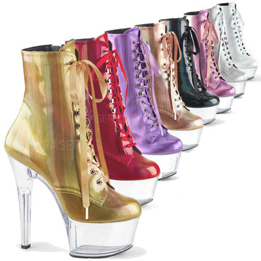 Pleaser | Aspire-1020BHG, Hologram Ankle Boots Color available: Gold, baby pink, Lavender, Black, rose gold, red, silver, white