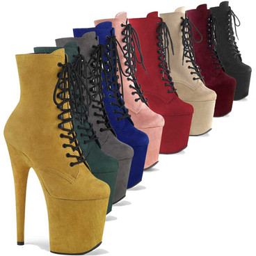 """Flamingo-1020FS 8"""" Faux Suede Stripper Ankle Boots by Pleaser"""