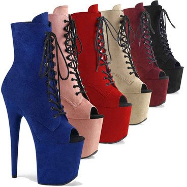 Flamingo-1021FS, 8 Inch Heel Faux Suede Peep Toe Platform Ankle Boots | Pleaser