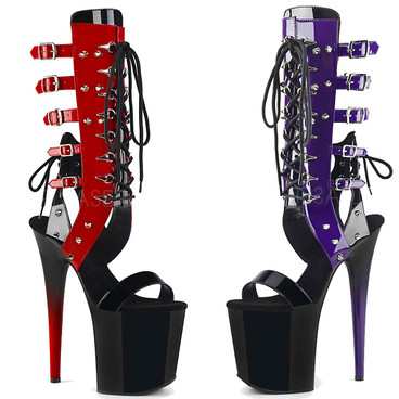 Pleaser | Flamingo-800-38, Mid-Calf Front Lace up with Multi Buckles Sandal