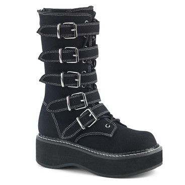 EMILY-341, Multi-Straps Mid-Calf Boots Demonia