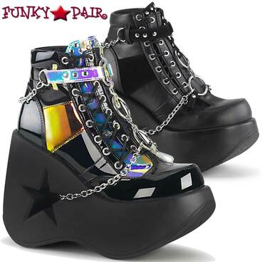 Demonia   DYNAMITE-101, Star Cut-Out Wedge Ankle Boots