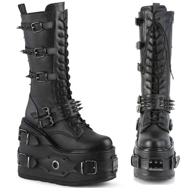 SWING-327, Platform Wedge Knee High Boots with Spike Buckles | Demonia