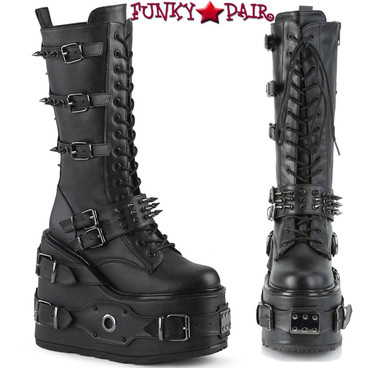Demonia | SWING-327, Platform Wedge Knee High Boots with Spike Buckles