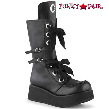 Demonia Boots | SPRITE-210, Platform Mid-Calf Lace-up Boots with Buckles