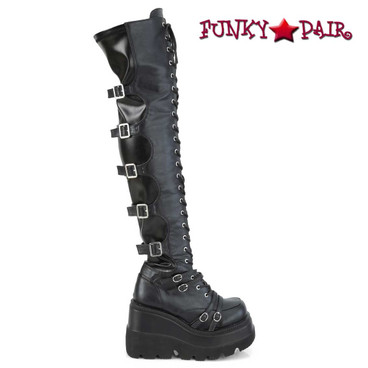 SHAKER-350, Side view Wedge Thigh High Lace-up Platform Boots | Demonia