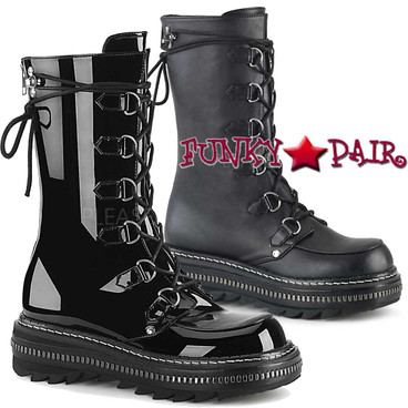 Women's Demonia Boots | LILITH-270, D-Ring Lace-up Mid-Calf Boots