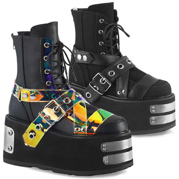 Women's Raver Boots | Lace-up Ankle Boots with Buckle Strap Demonia | DAMNED-116,