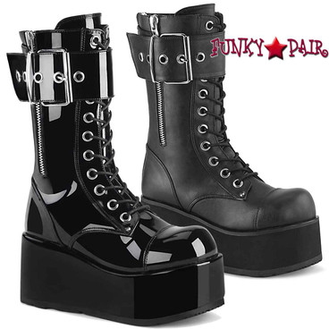 Demonia PETROL-150, Men's Punk Oversized Buckles Mid-Calf Boots