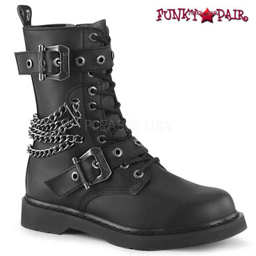 Demonia | BOLT-250, Mid-Calf Lace-up Combat Boots with Chain