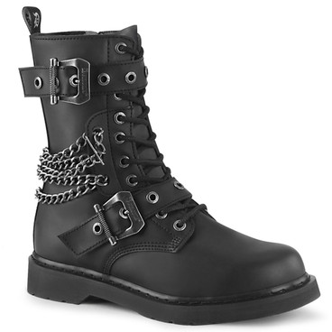 BOLT-250, Mid-Calf Lace-up Combat Boots with Chain Men's Demonia |