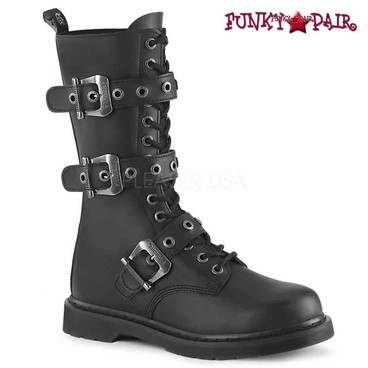 Demonia | BOLT-330, Mid-Calf Lace up Combat Boots with Buckles
