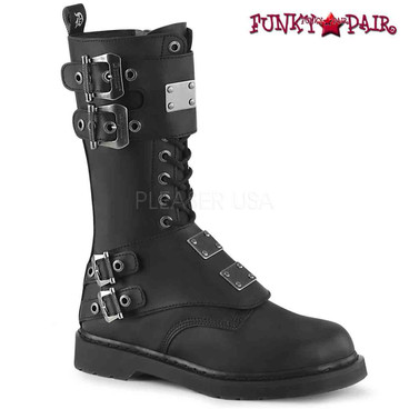 Demonia | BOLT-345, Mid-Calf Lace up Combat Boots with Metal Plates