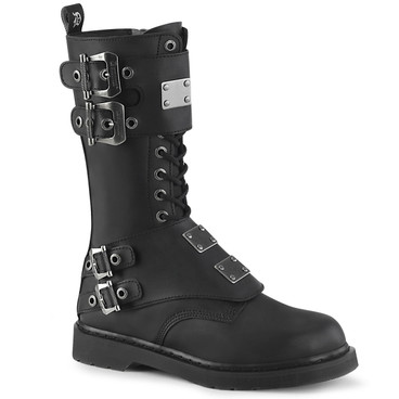 Mid-Calf Lace up Combat Boots with Metal Plates Men's Demonia | BOLT-345,
