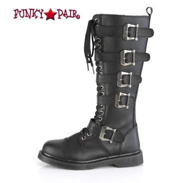 BOLT-425 Men's Knee High Combat Boots with 5 Buckle Straps by Demonia side view