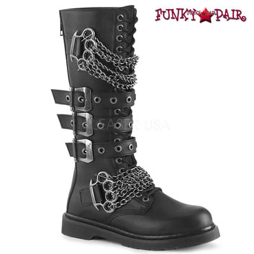 Demonia | BOLT-450, Knee High Combat Boots with Chains