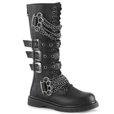 Knee High Combat Boots with Chains Demonia | BOLT-450,