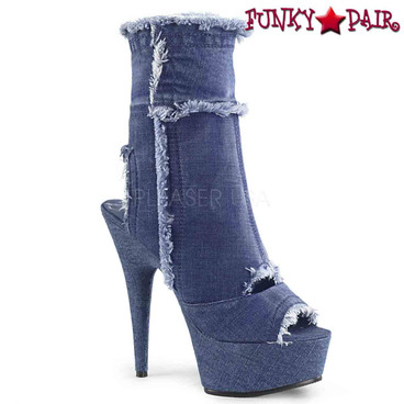 Pleaser Shoes | Delight-1030, Denim Cutout Ankle Boots