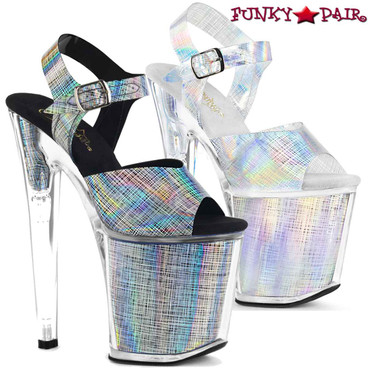 Pleaser Shoes | XTREME-808N-CRHM, Ankle Strap with Crosshatch Design | FunkyPair