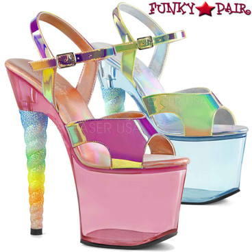 Pleaser Shoes | UNICORN-711T, Ombre Glitter Unicorn Heel Ankle Strap Sandal | FunkyPair