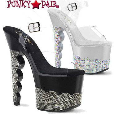 Pleaser | SCALLOP-708-2RS, 7 Inch Scalloped Heel Rhinestones Platform Sandal