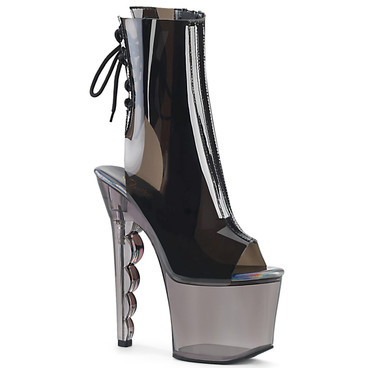 SCALLOP-1018C, Scalloped Heel Ankle Boots color PVC/Smoke Tinted by Pleaser