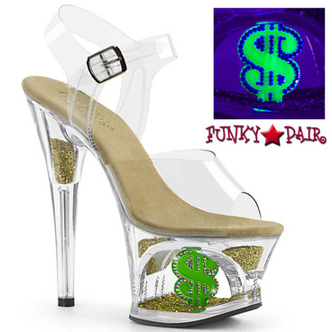 Pleaser | MOON-708USD, 7 Inch Dancer Dollar Sign Platform Shoes