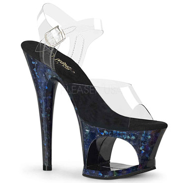 Pleaser Shoes | MOON-708HSP, Holographic Shatter Platform Sandal