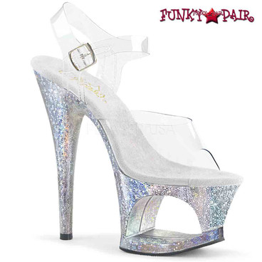 Stripper Shoes | MOON-708HB, Holographic Bubble Effect Platform Sandal