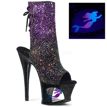 Pleaser Shoes | MOON-1018MER, Mermaid Platform Open Toe Ankle Boots