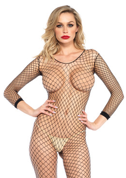 LA-8380, Black Long Sleeve FishNet BodyStocking by Leg Avenue