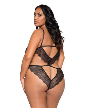 Plus Size Lingerie | LI264X, Lace Cutout Teddy back view