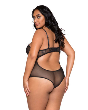 Plus Size Lingerie | LI281X, Lace-up Detail Bodysuit back view
