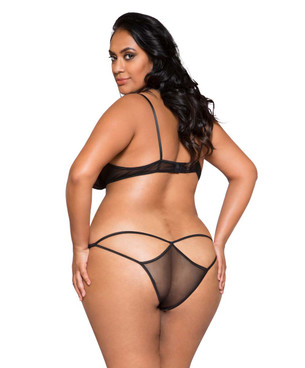 Plus Size Lingerie | LI267X, Lace and Mesh Bra Set back view