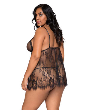 Plus Size Lingerie | LI275X, Lace Babydoll Set back view