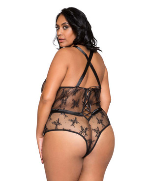 Plus Size Lingerie | LI259X, Satin and Lace Contrast Bodysuit back view