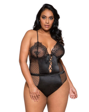 Plus Size Lingerie | LI279X, Satin and Lace Teddy color black front view
