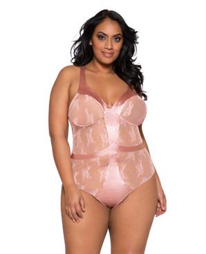 Plus Size Lingerie | LI260X, Satin and Lace Contrast Bodysuit
