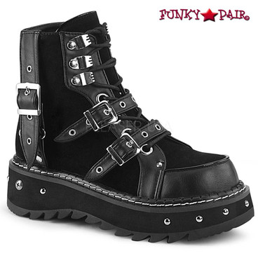 Demonia Boots | Lilith-278, Ankle Boots With Buckles Strap