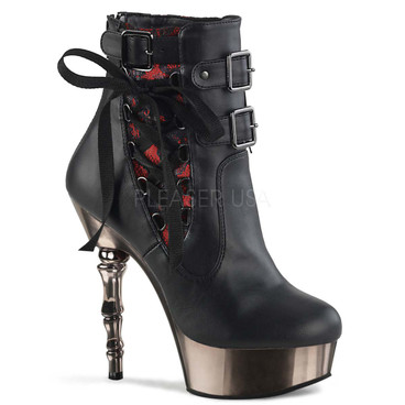 Demonia Boots | MUERTO-1030, Two Tone Corset Style Ankle Boots