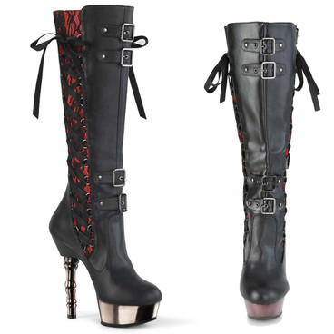 MUERTO-2030, Corset Style Knee High Boots by Demonia