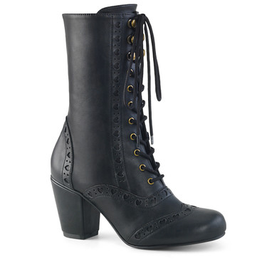 Women Demonia Boots | VIVIKA-200, Lace-up Mid-Calf Boots with Heart Cutout
