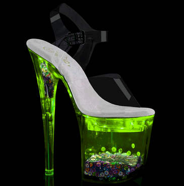 Stripper Shoes | Flashdance-808SQ, Ankle Strap Sandal with Light-up Platform